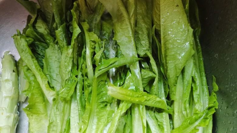 凉拌油麦菜,用清水洗净捞出控干水份