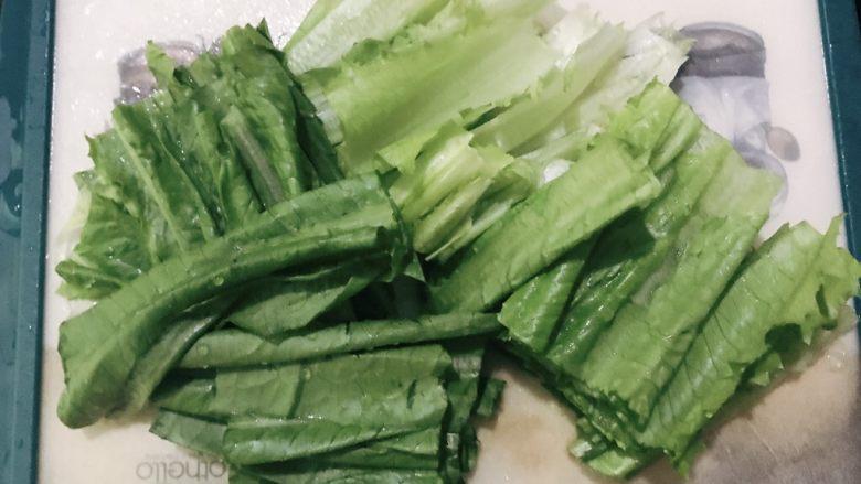 凉拌油麦菜,洗干净后切段
