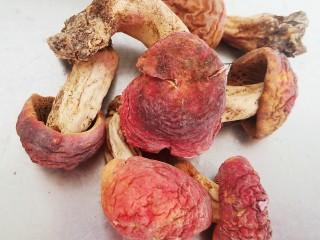 菌菇土鸡汤,准备5朵红菇。