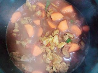 西红柿炖牛肉,将牛肉放入高压锅中,压40分钟。