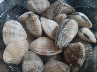 葱油花蛤,把花蛤清洗两遍,连同清水一起放在密封盒来回摇晃几次,把水倒掉。重新倒入干净的自来水,放海盐。外面最好套个黑色塑料袋,制造黑暗环境,更好吐沙