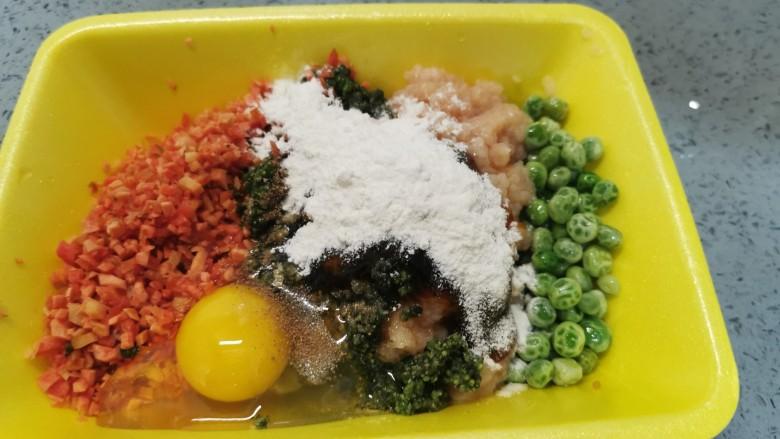 蔬菜鸡肉饼,再加入<a style='color:red;display:inline-block;' href='/shicai/ 519'>面粉</a>