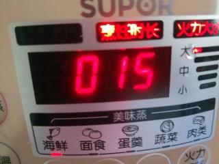 黄瓜酿肉,我开的蒸15分钟。