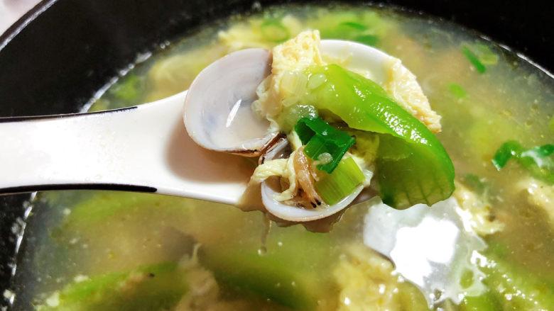 虾皮丝瓜汤➕花蛤虾皮丝瓜汤,成品