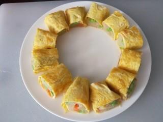 鸡蛋卷土豆泥,平盘码放一圈,直接吃也好吃,沾料汁更美味儿
