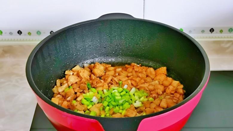 杏鲍菇炒鸡丁,加入葱花快速翻炒均匀关火。