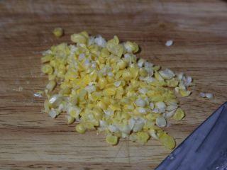 蔬菜肉饼,玉米粒切碎