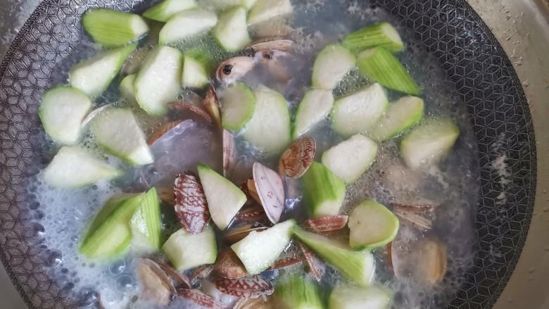 花蛤丝瓜汤,水烧开后加入丝瓜,继续煮至丝瓜断生