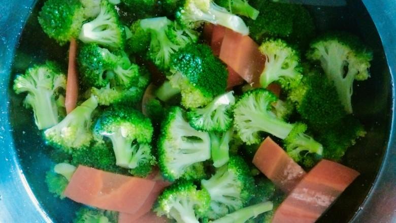 凉拌蒜蓉西兰花,捞出放入凉水中,蔬菜更脆,口感更好!
