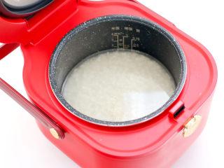 宝宝版端午卡通粽子,加入适量的清水,放入电饭煲中。