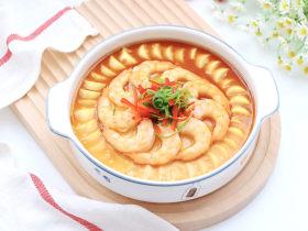 豆腐虾仁蒸蛋