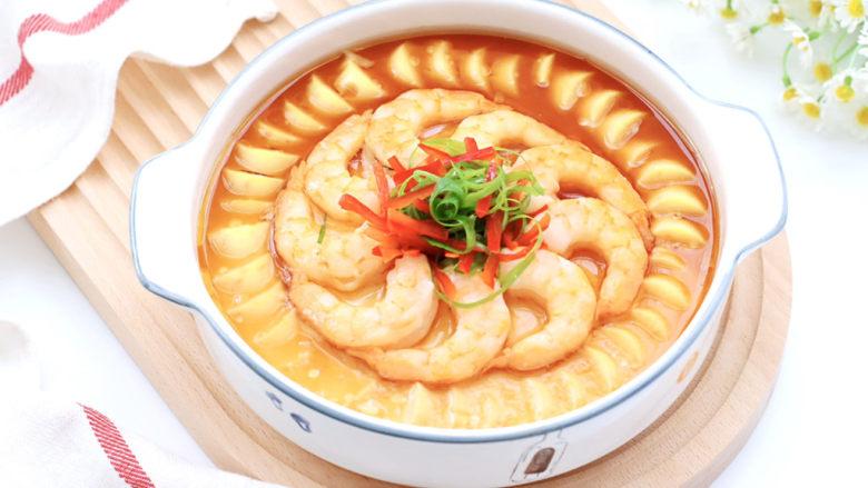 豆腐虾仁蒸蛋,开吃吧,嫩滑鲜香可口,好吃到木朋友!