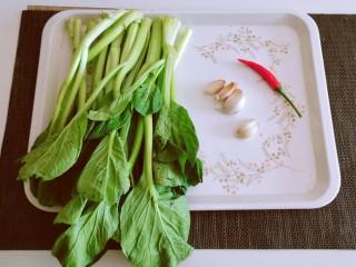 蒜蓉炒菜心,食材准备好。