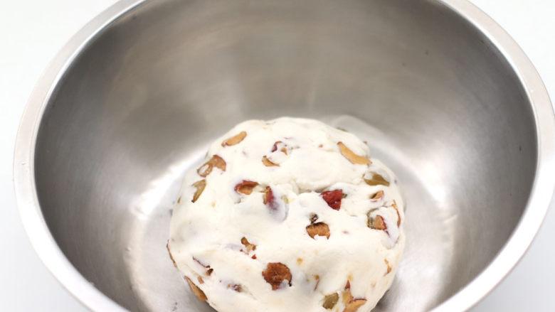 红枣葡萄干糯米糕,和成光滑的面团。
