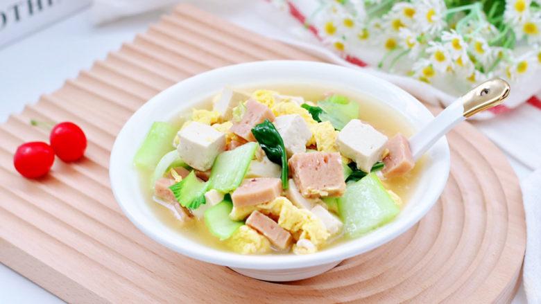 豆腐蛋花汤,出锅咯,汤汁鲜美又香浓,加了午餐肉的豆腐蛋花汤变得格外好喝。