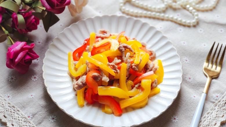彩椒炒肉丝,装盘