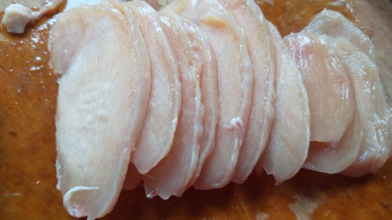 彩椒炒肉丝,鸡肉先切成片。