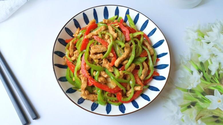 彩椒炒肉丝,上菜。