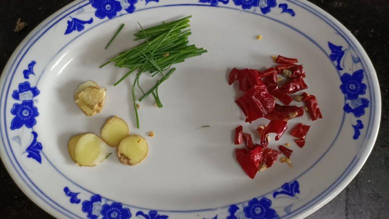 酸辣豆腐,葱段姜片,干椒备好