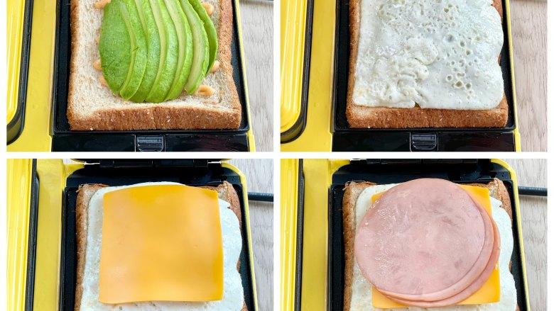 牛油果蛋清芝士火腿三明治,码上牛油果片,盖上煎蛋白,放上厚芝士片,再放上圆火腿片