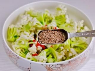 椒盐花菜,加入孜然,粉粒都可以,根据个人喜欢。