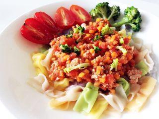 宝宝营养餐(1岁+)-番茄蔬菜肉酱蝴蝶面 ,宝贝,赶紧来开动吧!