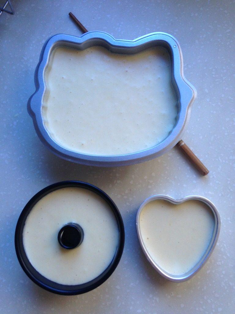 小C的芒果威风蛋糕,将混合好的蛋糕糊倒入模具后在桌上用力震两下,放进预热好的烤箱,180度,约1个小时即可;