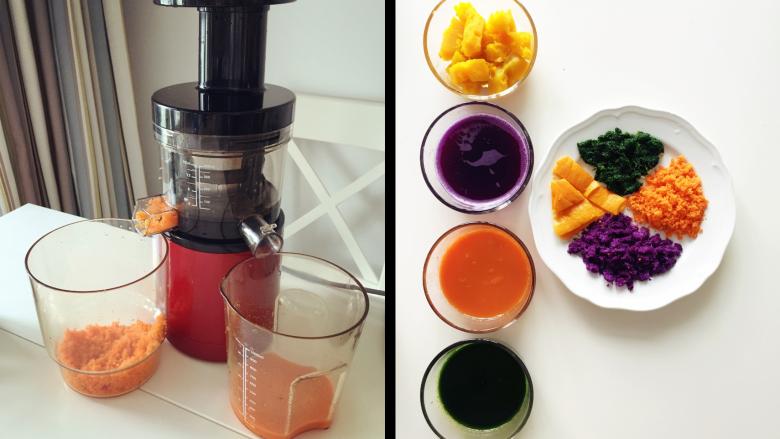 缤纷手工营养面-让宝贝快乐成长的健康辅食,其中南瓜煮熟捣成泥,其他的可用原汁机榨成汁 》没有原汁机的,用普通榨汁机,然后进行过滤即可。 》接下来主要用胡萝卜汁做案例展示哈。