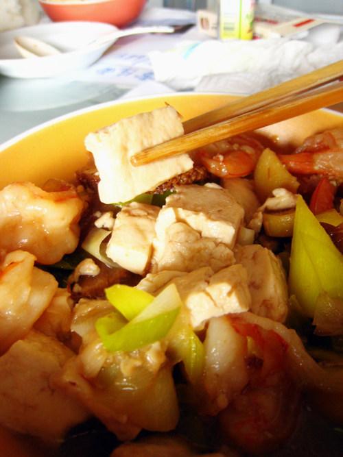猴头菇鲜虾烧豆腐