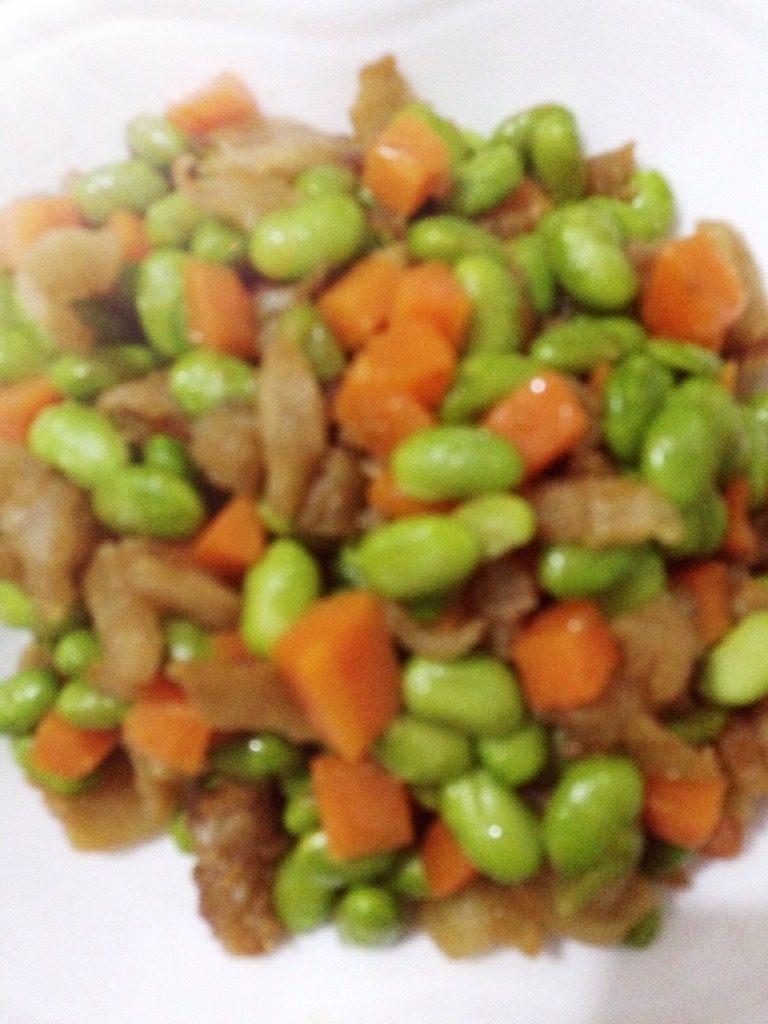 猪油渣炒毛豆