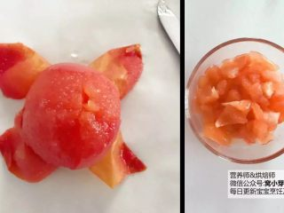 宝宝辅食:番茄炒蛋的另一种吃法,酸甜开胃,捞出稍稍冷却去皮,将番茄去蒂,切成细丁备用。 》番茄丁切得小,后期焖煮时间就可以断一点哈。