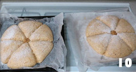 全麦桂花甜酒酿面包,要面包中心交叉处放个核桃仁,烤箱预热220度,入炉后用180度烤约20-23分钟。至表面金黄即可