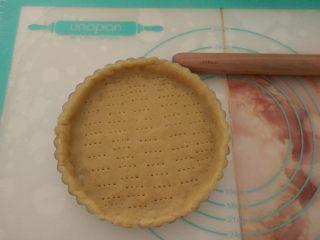 酸奶芝士派,把面片放入模具,用手整理好,整个和模具贴合,并去年多余的边,用叉子在底部叉一些孔。