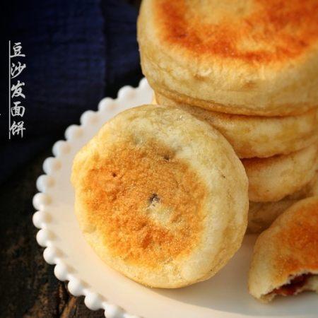 香甜松软的豆沙发面饼