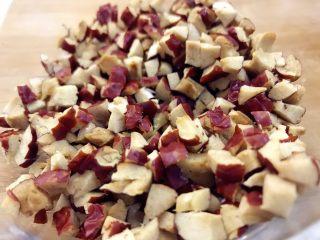 宝宝辅食-红枣发糕-18M+,将红枣洗净去皮切丁,然后取少许温水泡软,给宝宝吃,红枣泡软吃更容易哈。 》如果是18个月以下的小小宝,建议可以把红枣蒸熟去皮下哈,不然红枣皮容易粘喉咙。