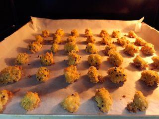 宝宝辅食:宝宝版健康鸡米花-24M+ ,放入烤箱,180度,上下火,中层,15分钟左右。烘烤时间需根据烤箱温度情况和鸡米花大小调整,注意别烤过头,烤过了外面口感会比较硬。
