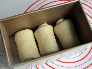 黄油椰蓉吐司条,再次擀开成长条状,面团卷起,收口朝下放置,将面团放入吐司模。