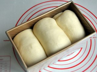 黄油椰蓉吐司条,放入烤箱进行第二次发酵,38度发酵至8-9成模。
