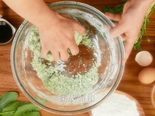 豌豆苗树叶饺子,把美食吃出艺术感,揉成紧致的面团;