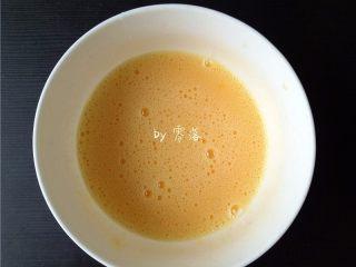 香椿厚蛋烧,鸡蛋磕进碗里,调入适量盐,用手动打蛋器搅拌均匀;