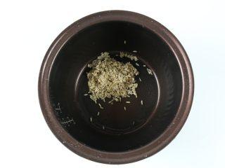 银耳莲子燕麦粥,把燕麦米倒入电饭锅内胆里。