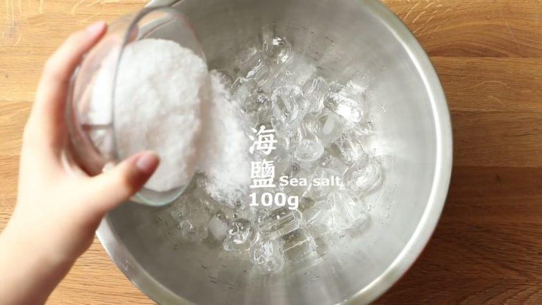 简单十分钟,不用冰箱也能搞定冰淇凌,在冰块中倒入海盐