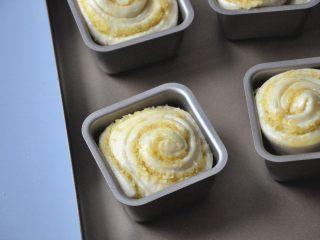 淡奶油椰蓉面包卷,将发酵好的面包卷生胚取出,在表面涂抹少许蛋液。
