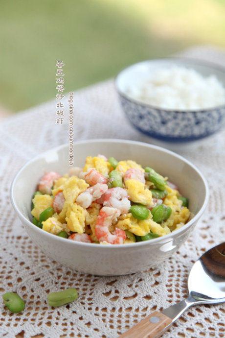 蚕豆鸡蛋炒北极虾