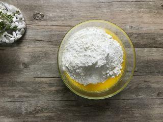 金宝顶蓝莓麦芬,将粉类倒入之前准备好的液体中。
