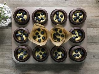 金宝顶蓝莓麦芬,用小勺压平面糊,再放入剩下的蓝莓。(此时烤箱可以180度预热起来。)