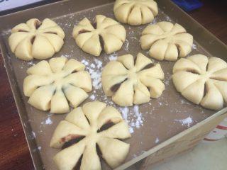 花朵豆沙面包,依次做好其他的胚,放入烤盘中,烤盘抹上油和高粉;静置15分钟;