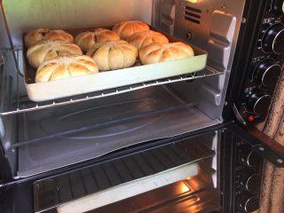 花朵豆沙面包,看着面包的表面上色自己喜欢了,就加盖上锡纸;待程序结束,趁热出炉,待凉;