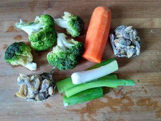 单饼版鸡蛋饼-菜煎饼,把要用的蔬菜,肉类准备好,这个大家随意搭配,我选择了萝卜,西蓝花,和蛤蜊