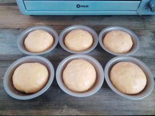 番茄咸肉面包,取出在面团表面刷一层蛋液,不要刷太多,流下去的蛋液会让面包底部上色加深,同时预热烤箱,上火130度,下火160度